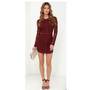 Lulus Adelyn Rae Lace Dress Burgundy Long Sleeve M
